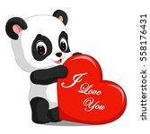 panda cartoon with love | Shutterstock .eps vector #558176431