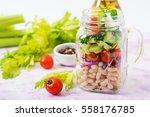salad of white beans  tomato ... | Shutterstock . vector #558176785