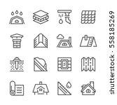 set line icons of roof isolated ... | Shutterstock . vector #558185269