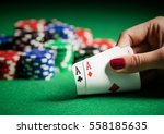 person showing her deck at the... | Shutterstock . vector #558185635