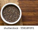 healthy chia seeds  lat. salvia ... | Shutterstock . vector #558189391