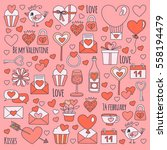 valentine day vector pattern... | Shutterstock .eps vector #558194479