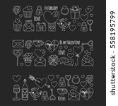valentine day vector pattern... | Shutterstock .eps vector #558195799