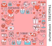 valentine day vector pattern... | Shutterstock .eps vector #558195961