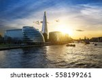 new london city hall at sunset  ... | Shutterstock . vector #558199261