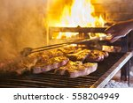 Grilled Meat In Barbecue With...