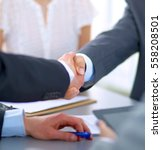 business people shaking hands ... | Shutterstock . vector #558208501