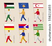 set of flat people with flags... | Shutterstock .eps vector #558211855