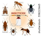 pest control flat icons set... | Shutterstock .eps vector #558215665