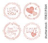vector garlands for valentines... | Shutterstock .eps vector #558219364
