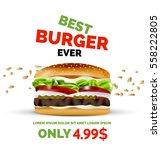 vector premium burger ad... | Shutterstock .eps vector #558222805