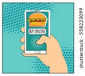 comic phone with halftone... | Shutterstock .eps vector #558223099