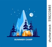 summer camp. night landscape... | Shutterstock .eps vector #558223885