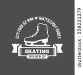 ice skate label logo design.... | Shutterstock .eps vector #558231379