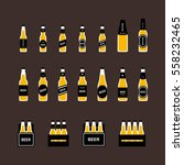 beer bottle flat colored icon... | Shutterstock .eps vector #558232465