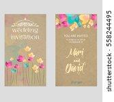 floral wedding invitation | Shutterstock .eps vector #558244495