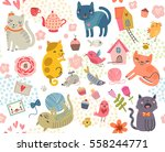 cute seamless pattern with cats ... | Shutterstock .eps vector #558244771