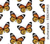 orange butterfly monarch on a... | Shutterstock .eps vector #558244915
