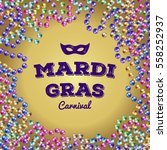 mardi gras colorful beads.... | Shutterstock .eps vector #558252937