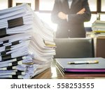 close up of business documents... | Shutterstock . vector #558253555