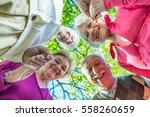 upward view of two elder... | Shutterstock . vector #558260659