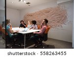 multiethnic startup business... | Shutterstock . vector #558263455