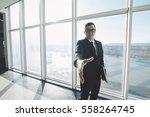 handsome businessman in suit... | Shutterstock . vector #558264745