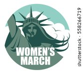 statue of liberty women's march ... | Shutterstock .eps vector #558266719