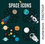 set of space icons. the planets ... | Shutterstock .eps vector #558270169