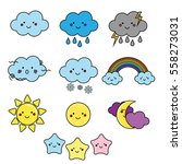 cute weather and sky elements.... | Shutterstock .eps vector #558273031