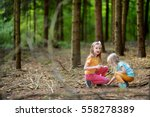 two funny little sisters having ... | Shutterstock . vector #558278389