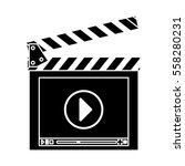 clapboard with play button over ... | Shutterstock .eps vector #558280231