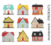 big set of cute cartoon houses... | Shutterstock .eps vector #558281671