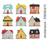 big set of cute cartoon houses... | Shutterstock .eps vector #558281671