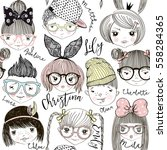 boys and girls cartoon faces... | Shutterstock .eps vector #558284365