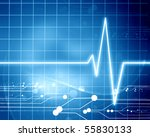 heart beat on display on a blue ... | Shutterstock . vector #55830133