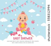 baby shower card. a cute baby... | Shutterstock .eps vector #558312994