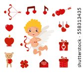 Set With Cute Cartoon Cupid An...