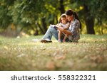 mother and daughter relaxing in ... | Shutterstock . vector #558322321