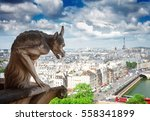 Gargoyle Of Paris On Notre Dam...