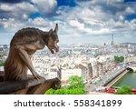 Gargoyle Of Paris On Notre Dam...