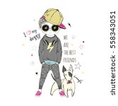 cartoon boy with dog   kid...   Shutterstock .eps vector #558343051