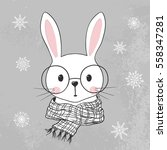 Cute Rabbit. Hand Drawn...