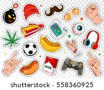 boy fashion colorful badges set ... | Shutterstock .eps vector #558360925