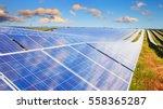 solar panels under sunset... | Shutterstock . vector #558365287