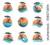 emblems collection of summer... | Shutterstock .eps vector #558371854