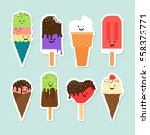 ice cream flat cute vector... | Shutterstock .eps vector #558373771