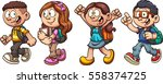 cartoon school kids walking.... | Shutterstock .eps vector #558374725