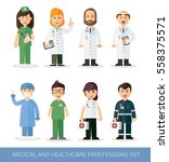 set of doctors and nurses and... | Shutterstock .eps vector #558375571