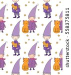 seamless pattern with cute... | Shutterstock .eps vector #558375811